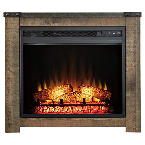 Signature Design by Ashley Trinell Fireplace Mantel with Fireplace Insert Brown 0 0