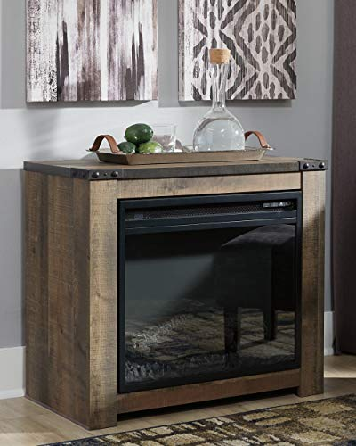 Signature Design by Ashley Trinell Fireplace Mantel with Fireplace Insert Brown 0 1