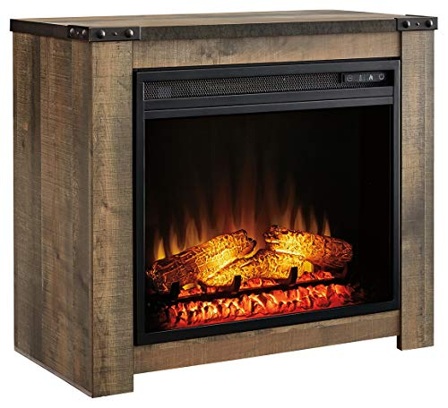 Signature Design by Ashley Trinell Fireplace Mantel with Fireplace Insert Brown 0