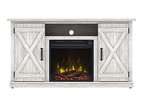 Simple Living Products Industrial 48 TV Stand Antique Rustic Look Electric Fireplace Heater Vintage Design White Oak 0