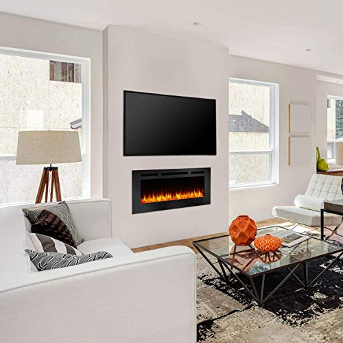 SimpliFire Allusion 48 Inch Recessed Linear Electric Fireplace SF ALL48 BK 0 0