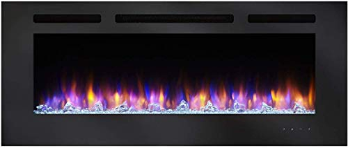 SimpliFire Allusion 48 Inch Recessed Linear Electric Fireplace SF ALL48 BK 0 1