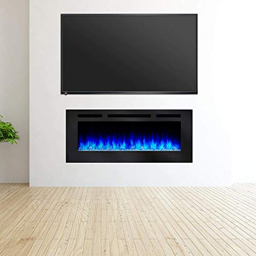 SimpliFire Allusion 48 Inch Recessed Linear Electric Fireplace SF ALL48 BK 0 2