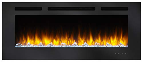 SimpliFire Allusion 48 Inch Recessed Linear Electric Fireplace SF ALL48 BK 0