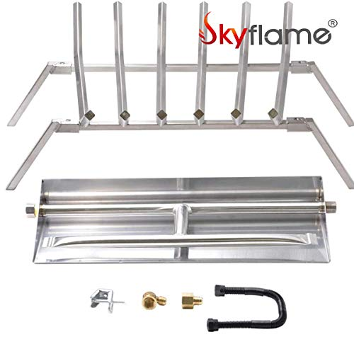 Skyflame 24 inch Fireplace Log Grate with Dual Burner Pan and Connection Kit for Natural Gas 304 Stainless Steel 0 0