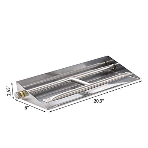 Skyflame 24 inch Fireplace Log Grate with Dual Burner Pan and Connection Kit for Natural Gas 304 Stainless Steel 0 1