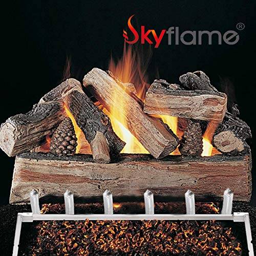 Skyflame 24 inch Fireplace Log Grate with Dual Burner Pan and Connection Kit for Natural Gas 304 Stainless Steel 0 3