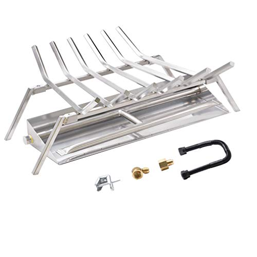 Skyflame 24 inch Fireplace Log Grate with Dual Burner Pan and Connection Kit for Natural Gas 304 Stainless Steel 0