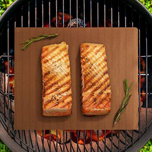 Smaid Copper Grill Mat Set of 4 BBQ Grill Mats Non Stick Reusable and Easy to Clean Works on Gas Charcoal Electric Grill and More 1575 x 13 Inch 0 4