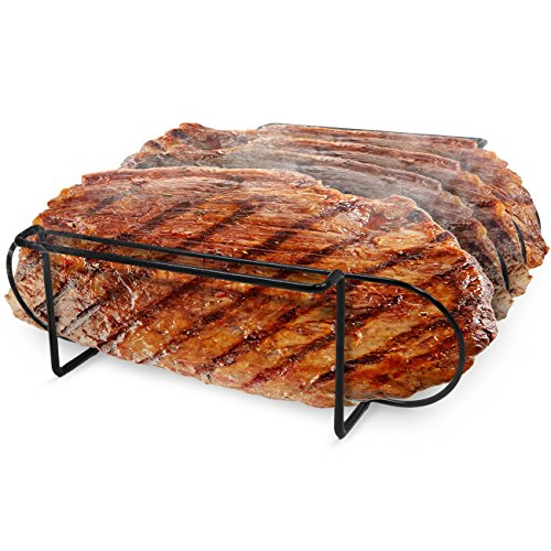 Sorbus Non Stick Rib Rack Porcelain Coated Steel Roasting Stand Holds 4 Rib Racks for Grilling Barbecuing Black 0 2