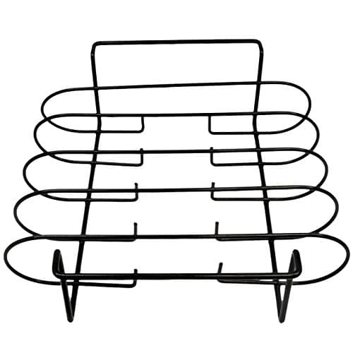 Sorbus Non Stick Rib Rack Porcelain Coated Steel Roasting Stand Holds 4 Rib Racks for Grilling Barbecuing Black 0 4