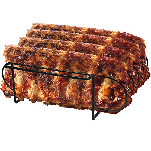 Sorbus Non Stick Rib Rack Porcelain Coated Steel Roasting Stand Holds 4 Rib Racks for Grilling Barbecuing Black 0
