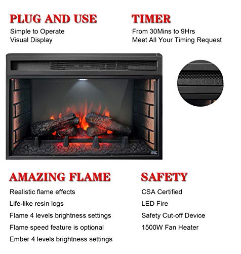 Soulaca 26 inches Electric Fireplace Insert with Heater Freestanding 0 2