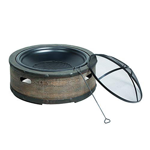 Sun Joe SJFP35 STN BRL 35 in Cast Stone Base Wood Burning Fire Pit wDome Screen and Poker Rustic Barrel 0 0