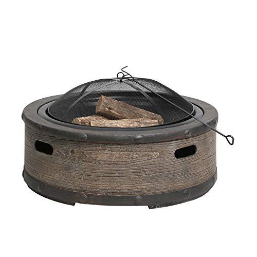 Sun Joe SJFP35 STN BRL 35 in Cast Stone Base Wood Burning Fire Pit wDome Screen and Poker Rustic Barrel 0