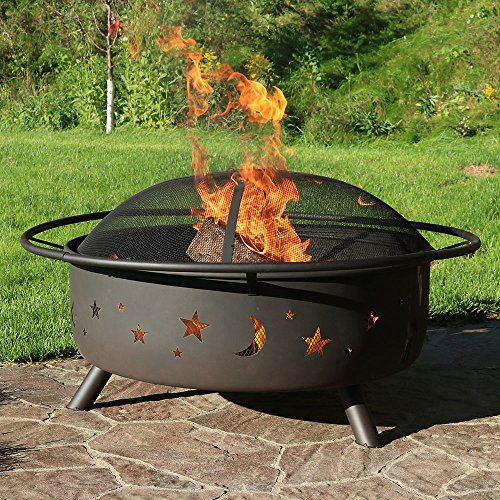 Sunnydaze Cosmic Outdoor Fire Pit 42 Inch Large Bonfire Wood Burning Patio Backyard Firepit for Outside with Round Spark Screen Fireplace Poker and Metal Grate Celestial Design 0 1