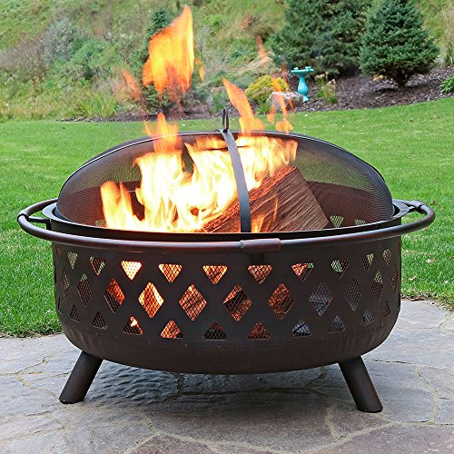 Sunnydaze Crossweave Outdoor Fire Pit 36 Inch Large Bonfire Wood Burning Patio Backyard Firepit for Outside with Spark Screen Fireplace Poker and Round Cover Bronze 0 0