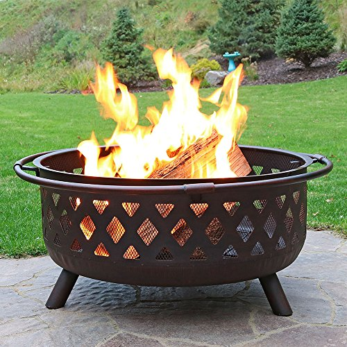 Sunnydaze Crossweave Outdoor Fire Pit 36 Inch Large Bonfire Wood Burning Patio Backyard Firepit for Outside with Spark Screen Fireplace Poker and Round Cover Bronze 0 2