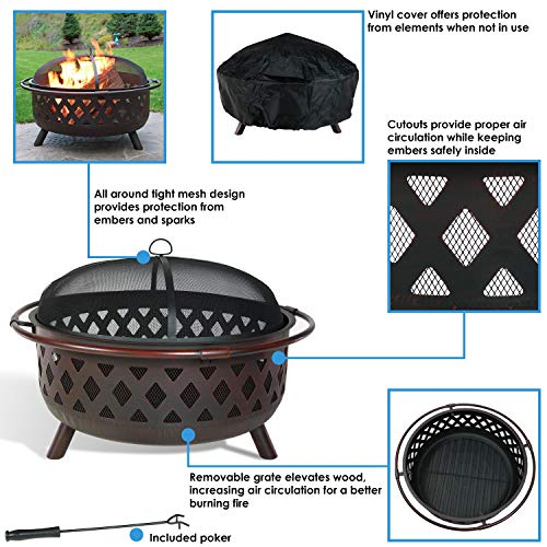 Sunnydaze Crossweave Outdoor Fire Pit 36 Inch Large Bonfire Wood Burning Patio Backyard Firepit for Outside with Spark Screen Fireplace Poker and Round Cover Bronze 0 4