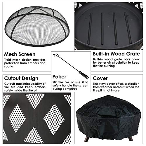 Sunnydaze Crossweave Outdoor Fire Pit 36 Inch Large Bonfire Wood Burning Patio Backyard Firepit for Outside with Spark Screen Poker and Round Fireplace Cover Black 0 4
