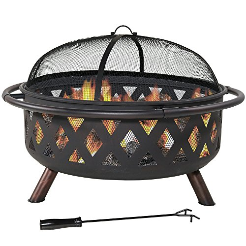 Sunnydaze Crossweave Outdoor Fire Pit 36 Inch Large Bonfire Wood Burning Patio Backyard Firepit for Outside with Spark Screen Poker and Round Fireplace Cover Black 0
