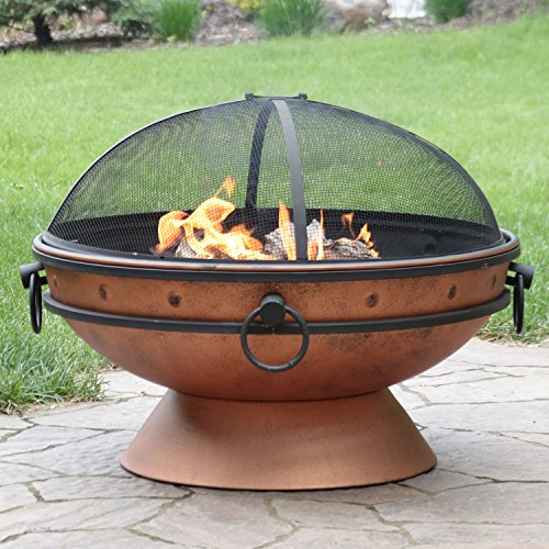 Sunnydaze Large Copper Finish Outdoor Fire Pit Bowl Round Wood Burning Patio Firebowl with Portable Handles and Spark Screen 30 Inch 0 0