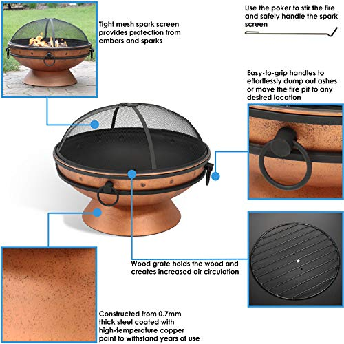 Sunnydaze Large Copper Finish Outdoor Fire Pit Bowl Round Wood Burning Patio Firebowl with Portable Handles and Spark Screen 30 Inch 0 1