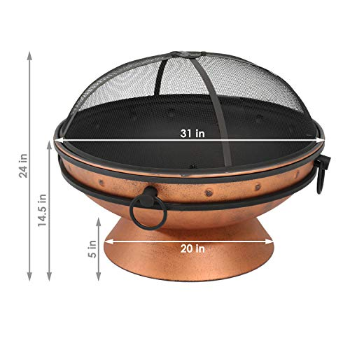 Sunnydaze Large Copper Finish Outdoor Fire Pit Bowl Round Wood Burning Patio Firebowl with Portable Handles and Spark Screen 30 Inch 0 2