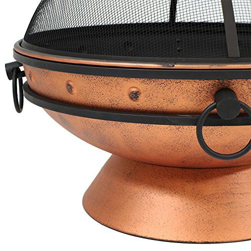 Sunnydaze Large Copper Finish Outdoor Fire Pit Bowl Round Wood Burning Patio Firebowl with Portable Handles and Spark Screen 30 Inch 0 3