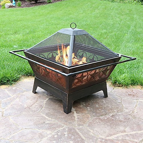 Sunnydaze Northern Galaxy Outdoor Fire Pit 32 Inch Large Square Wood Burning Patio Backyard Firepit for Outside with Cooking BBQ Grill Grate Spark Screen and Fireplace Poker 0 1