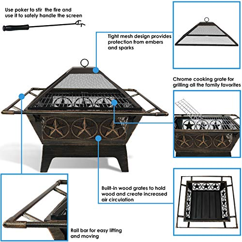 Sunnydaze Northern Galaxy Outdoor Fire Pit 32 Inch Large Square Wood Burning Patio Backyard Firepit for Outside with Cooking BBQ Grill Grate Spark Screen and Fireplace Poker 0 2