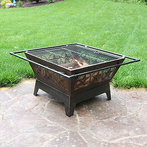 Sunnydaze Northern Galaxy Outdoor Fire Pit 32 Inch Large Square Wood Burning Patio Backyard Firepit for Outside with Cooking BBQ Grill Grate Spark Screen and Fireplace Poker 0 3