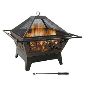 Sunnydaze Northern Galaxy Outdoor Fire Pit 32 Inch Large Square Wood Burning Patio Backyard Firepit for Outside with Cooking BBQ Grill Grate Spark Screen and Fireplace Poker 0