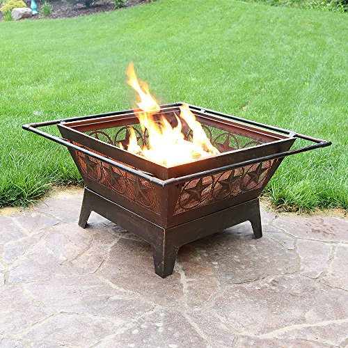 Sunnydaze Northern Galaxy Outdoor Fire Pit 32 Inch Large Square Wood Burning Patio Backyard Firepit for Outside with Cooking BBQ Grill Grate Spark Screen and Fireplace Poker 0 4