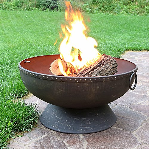 Sunnydaze Outdoor Fire Pit Bowl 30 Inch Large Round Wood Burning Patio Backyard Firepit for Outside with Spark Screen Fireplace Poker and Metal Grate 0 1