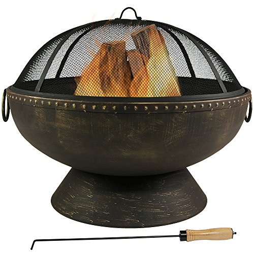 Sunnydaze Outdoor Fire Pit Bowl 30 Inch Large Round Wood Burning Patio Backyard Firepit for Outside with Spark Screen Fireplace Poker and Metal Grate 0