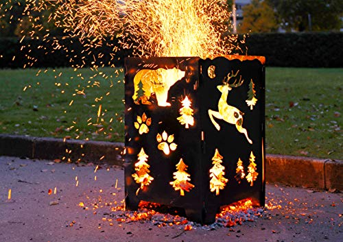 SuperHandy Fire Pit Outdoor California Bear ChristmasX Mas Tree Develops Patina Finish Heavy Duty Steel 21x 21x 27 inches for Burning Wood at Bonfire Beach Pit or Backyard Gathering 0 0