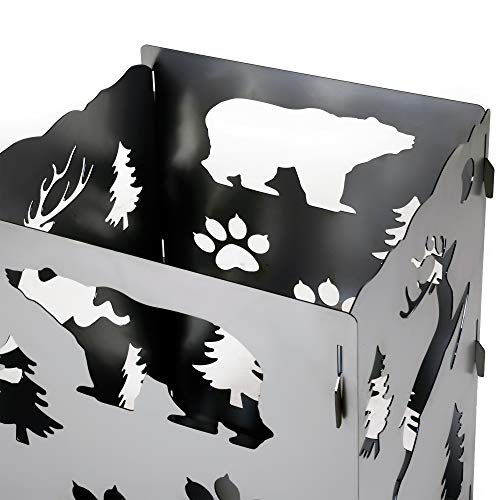 SuperHandy Fire Pit Outdoor California Bear ChristmasX Mas Tree Develops Patina Finish Heavy Duty Steel 21x 21x 27 inches for Burning Wood at Bonfire Beach Pit or Backyard Gathering 0 3