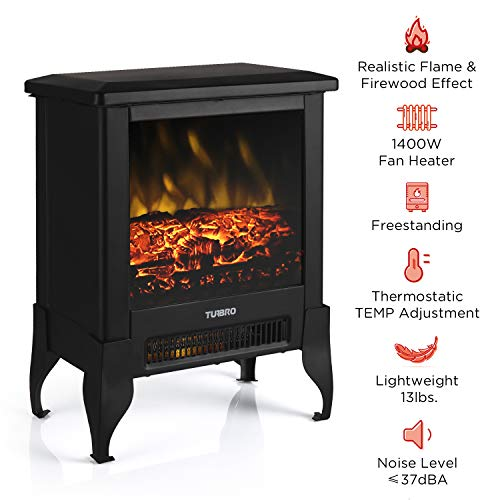 TURBRO Suburbs TS17 Compact Electric Fireplace Stove Freestanding Stove Heater with Realistic Flame CSA Certified Overheating Safety Protection for Small Spaces 18 1400W 0 0