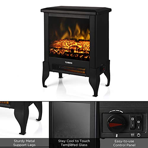 TURBRO Suburbs TS17 Compact Electric Fireplace Stove Freestanding Stove Heater with Realistic Flame CSA Certified Overheating Safety Protection for Small Spaces 18 1400W 0 2