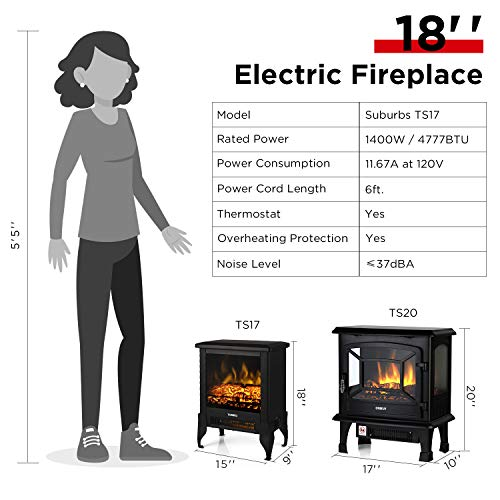 TURBRO Suburbs TS17 Compact Electric Fireplace Stove Freestanding Stove Heater with Realistic Flame CSA Certified Overheating Safety Protection for Small Spaces 18 1400W 0 3