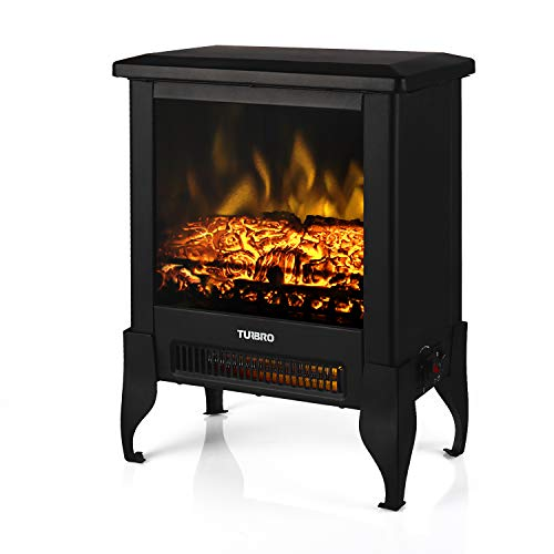 TURBRO Suburbs TS17 Compact Electric Fireplace Stove Freestanding Stove Heater with Realistic Flame CSA Certified Overheating Safety Protection for Small Spaces 18 1400W 0