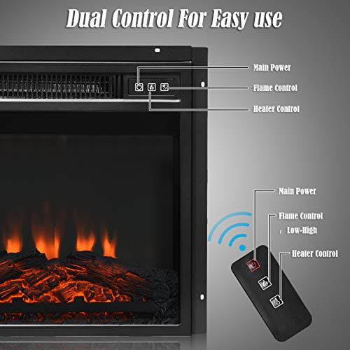 Tangkula 18 Electric Fireplace Heater Freestanding Recessed 1400 W Electric Stove Heater wAdjustable LED Flame Fireplace Insert wRemote Control Safer Plug and Sensor 0 2