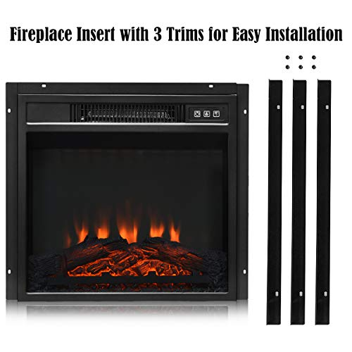 Tangkula 18 Electric Fireplace Heater Freestanding Recessed 1400 W Electric Stove Heater wAdjustable LED Flame Fireplace Insert wRemote Control Safer Plug and Sensor 0 5
