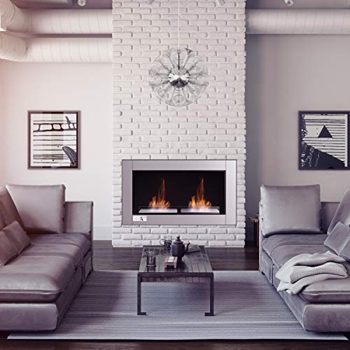 Tangkula 38 Wall Mounted Fireplace Dual Burner Bio Ethanol Fireplace Ventless Hanging Fireplace Tabletop Fireplace 0 0