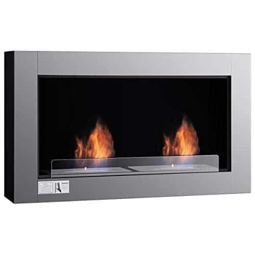 Tangkula 38 Wall Mounted Fireplace Dual Burner Bio Ethanol Fireplace Ventless Hanging Fireplace Tabletop Fireplace 0 1