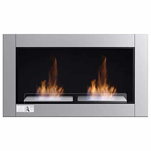 Tangkula 38 Wall Mounted Fireplace Dual Burner Bio Ethanol Fireplace Ventless Hanging Fireplace Tabletop Fireplace 0