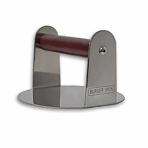 The Burger Iron Burger Smasher Pan Sized Stainless Steel Non Stick Smashed Burger Press for Ultimate Crust and Sear 0