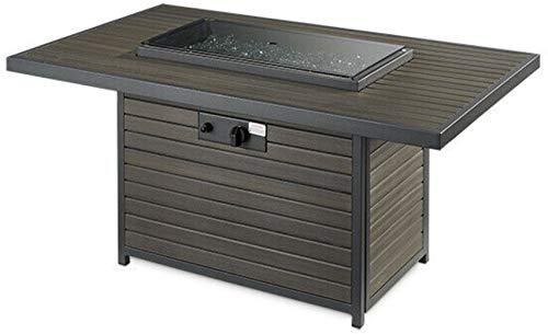 The Outdoor GreatRoom Company BRK 1224 K Brooks 12x24 Inch Elevated Top Rectangular Gas Fire Pit Table Grey Glass Burner Cover 55000 BTU Power Heat 0 1