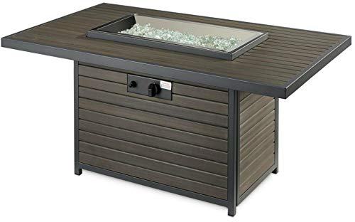 The Outdoor GreatRoom Company BRK 1224 K Brooks 12x24 Inch Elevated Top Rectangular Gas Fire Pit Table Grey Glass Burner Cover 55000 BTU Power Heat 0 2